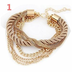 New Multi Layer Rope Chain Gold & Tan Bracelet